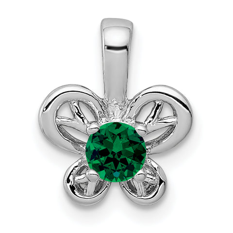 Sterling Silver Rhodium-plated Created Emerald Pendant
