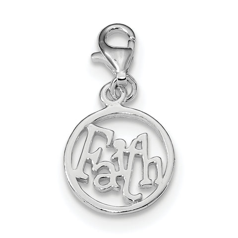 Sterling Silver Rhodium Plated Faith Circle Charm