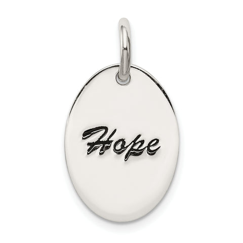 Sterling Silver Polished Enamel Hope Pendant