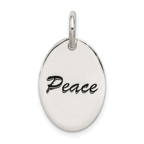 Sterling Silver Polished Enamel Peace Pendant