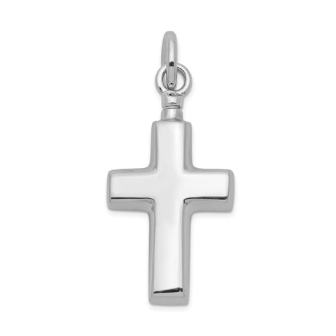 Sterling Silver Rhodium-plated Polished Cross Ash Holder Pendant