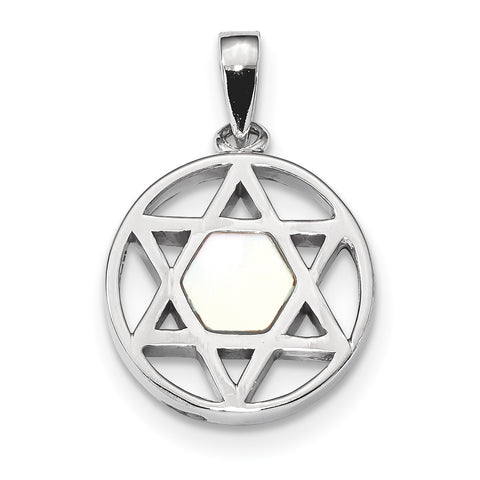 Sterling Silver Rhodium-plated MOP Star of David Pendant