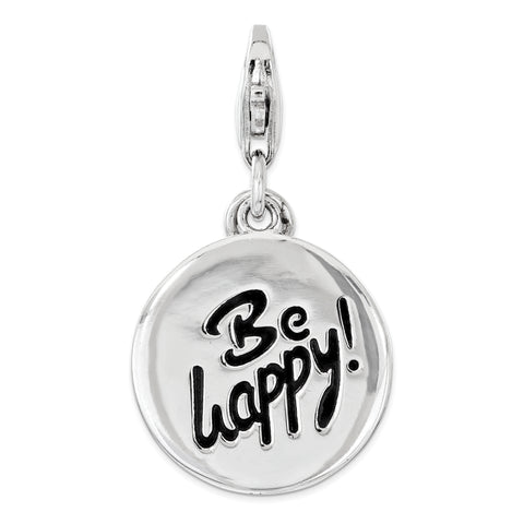 Sterling Silver Polished BE HAPPY Lobster Clasp Charm