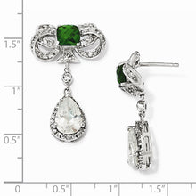 Load image into Gallery viewer, Sterling Silver Bow w/Glass Sim Emerald & CZ Post Dangle Earrings