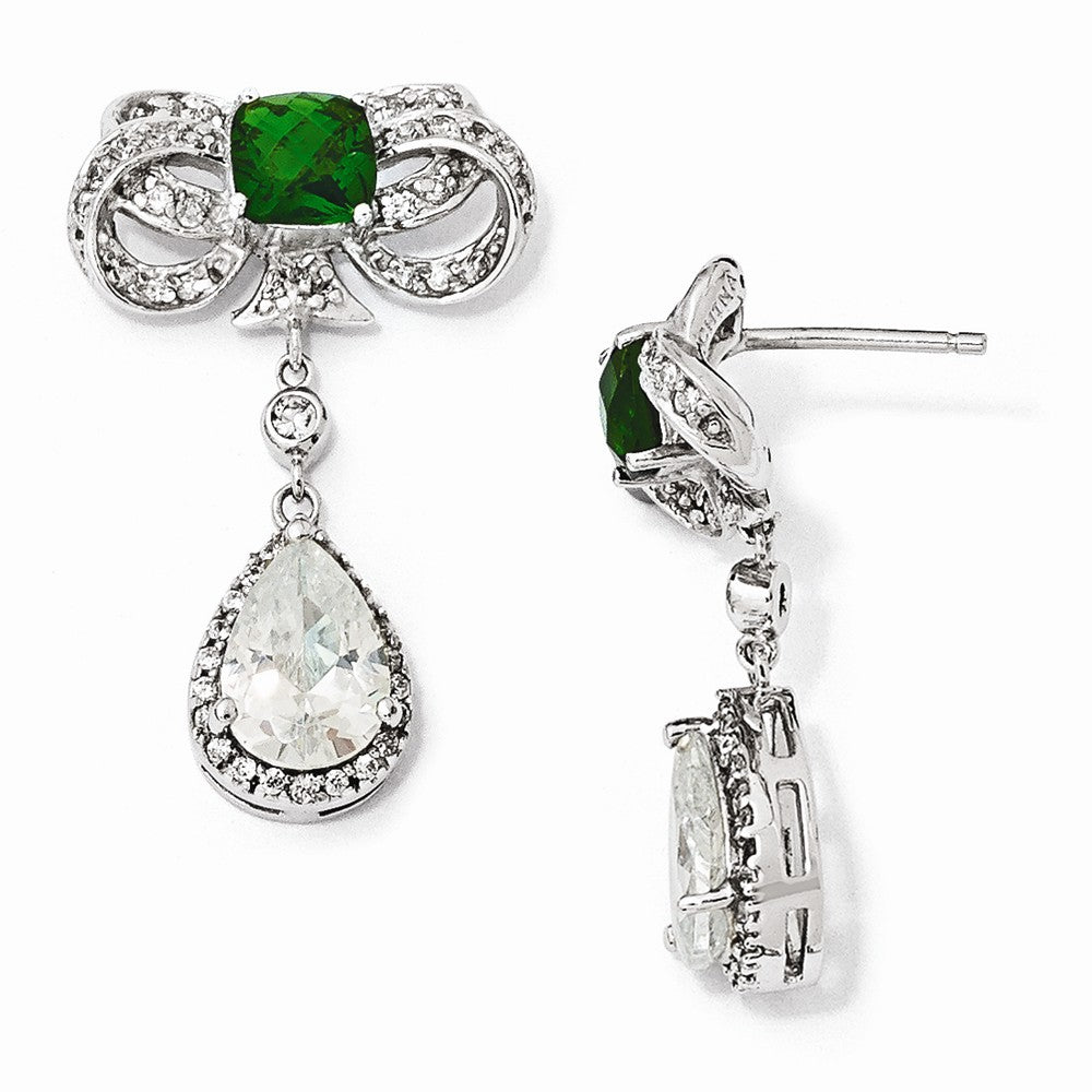 Sterling Silver Bow w/Glass Sim Emerald & CZ Post Dangle Earrings