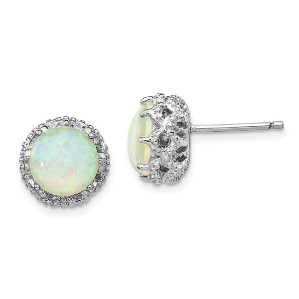 Cheryl M SS Lab Created White Opal Stud Earrings