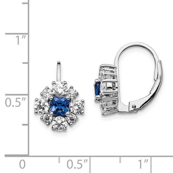 Cheryl M SS CZ Lab Created Blue Spinel Leverback Earring