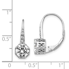 Load image into Gallery viewer, Cheryl M SS Polished CZ Leverback Earrings