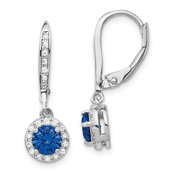 Cheryl M SS Created Blue Spinel Leverback Earrings