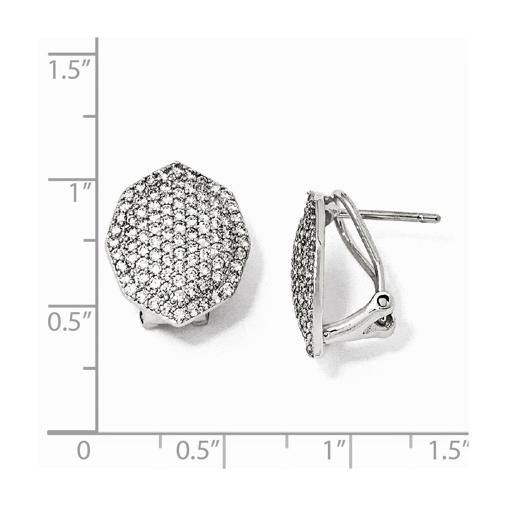 Sterling Silver CZ Polygon Post Earrings