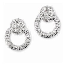 Load image into Gallery viewer, Sterling Silver CZ Double Circles Post Earrings