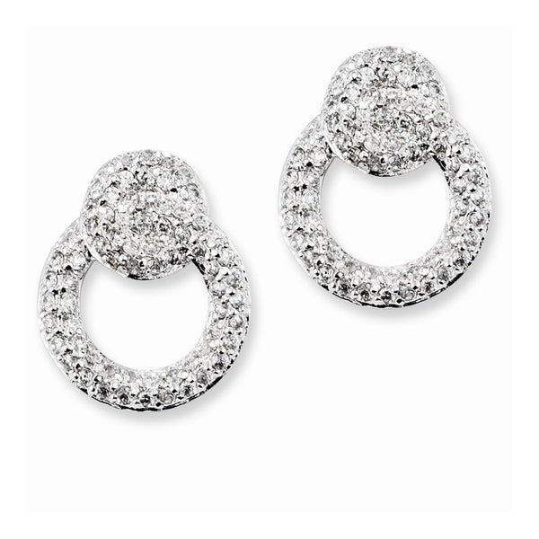 Sterling Silver CZ Double Circles Post Earrings