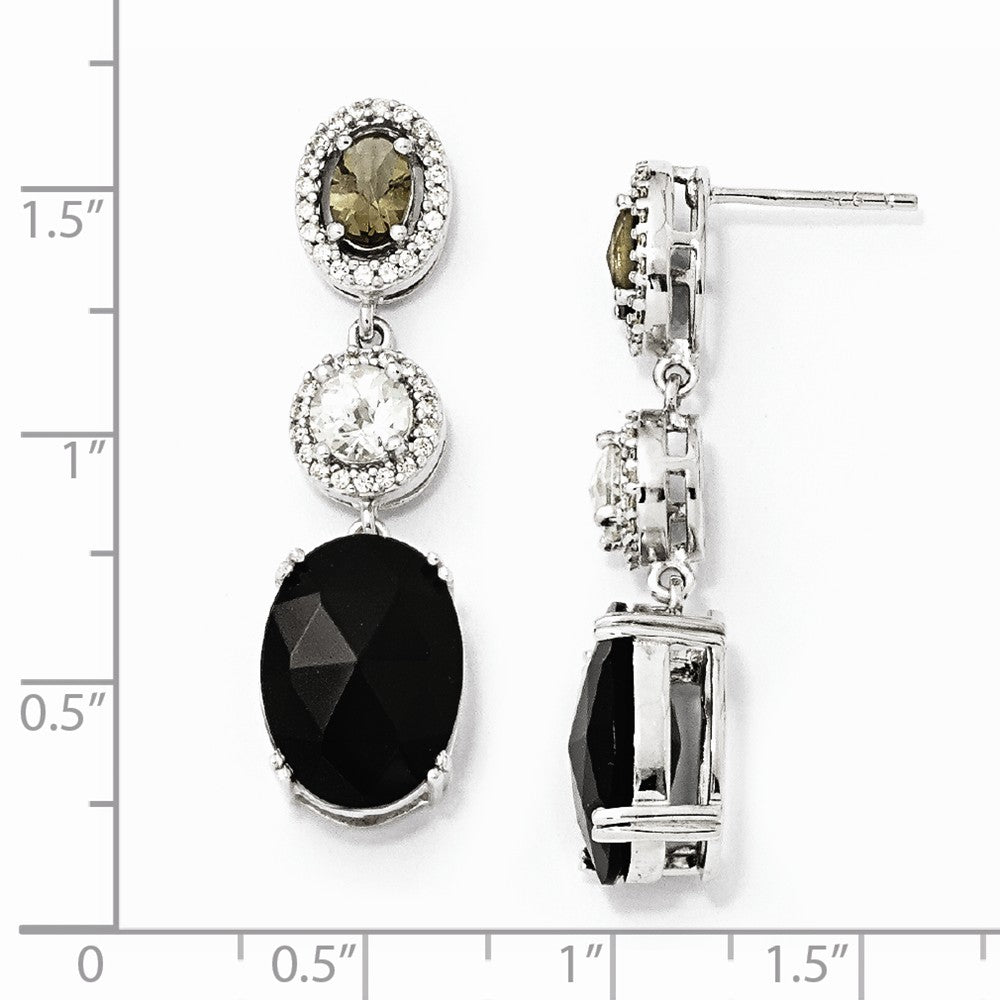 Sterling Silver CZ Onyx & Smokey Glass Post Dangle Earrings