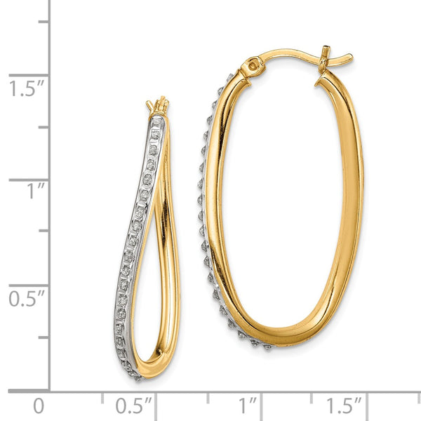 Sterling Silver & Gold-plated Diamond Mystique Oval Twist Hoop Earrings