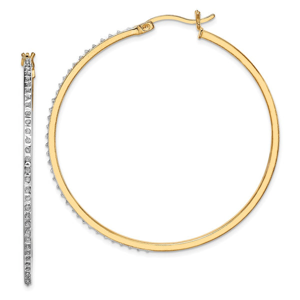Sterling Silver & Gold-plated Diamond Mystique Round Hoop Earrings