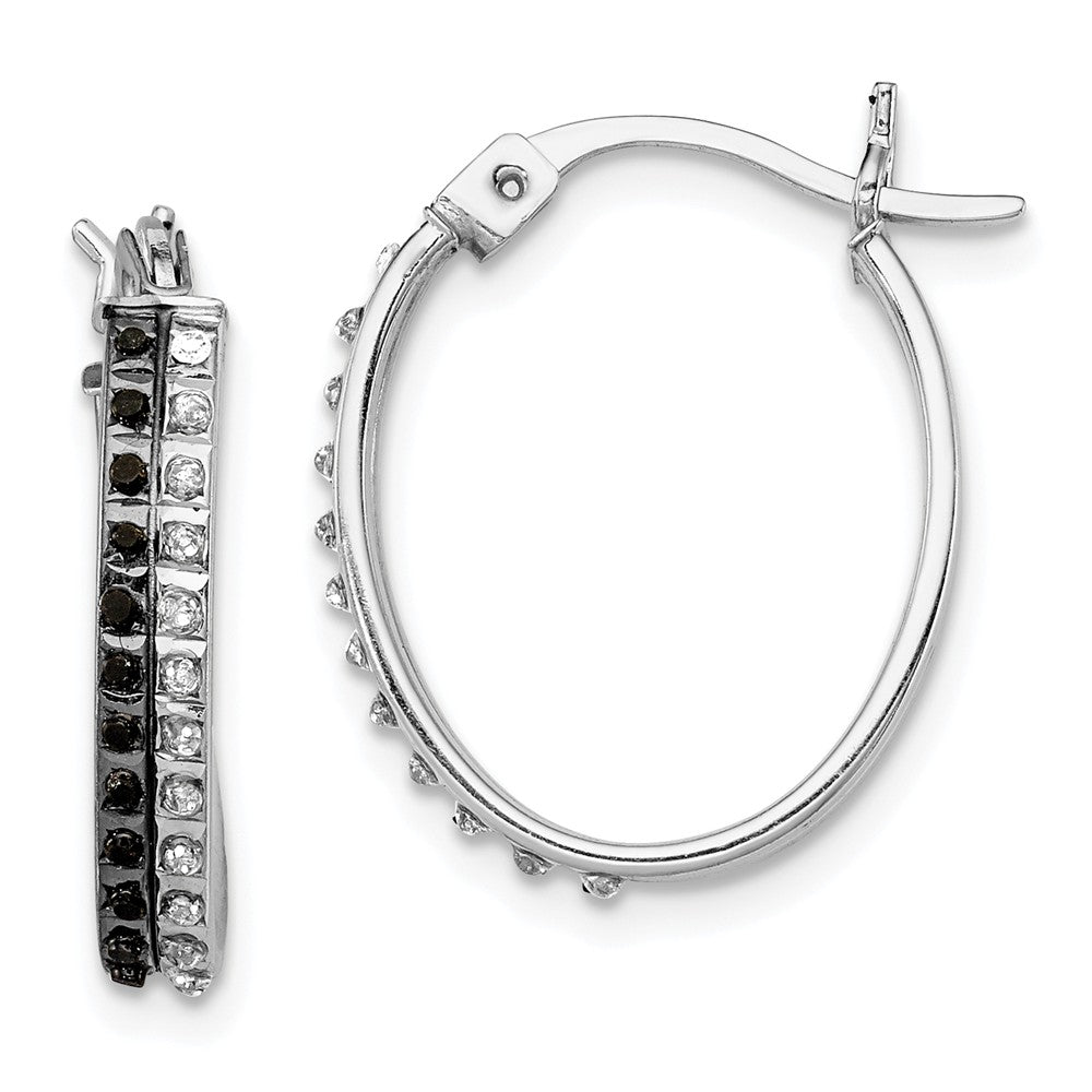 Sterling Silver Black & White Diamond Oval Hinged Hoop Earrings
