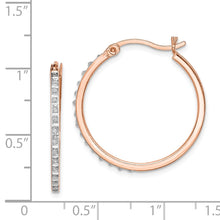 Load image into Gallery viewer, Sterling Silver Diamond Mystique Round Hoop Earrings