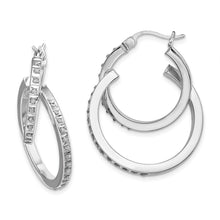 Load image into Gallery viewer, Sterling Silver Diamond Mystique Double Hoop Earrings