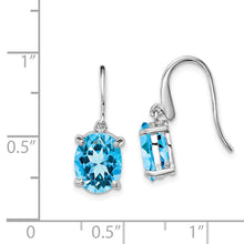 Load image into Gallery viewer, Sterling Silver Rhodium Light Swiss Blue Topaz Wire Earrings