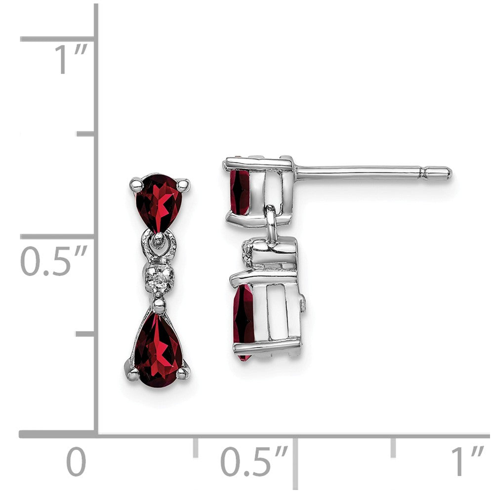 Sterling Silver Rhodium Pear Garnet & Diamond Post Earrings