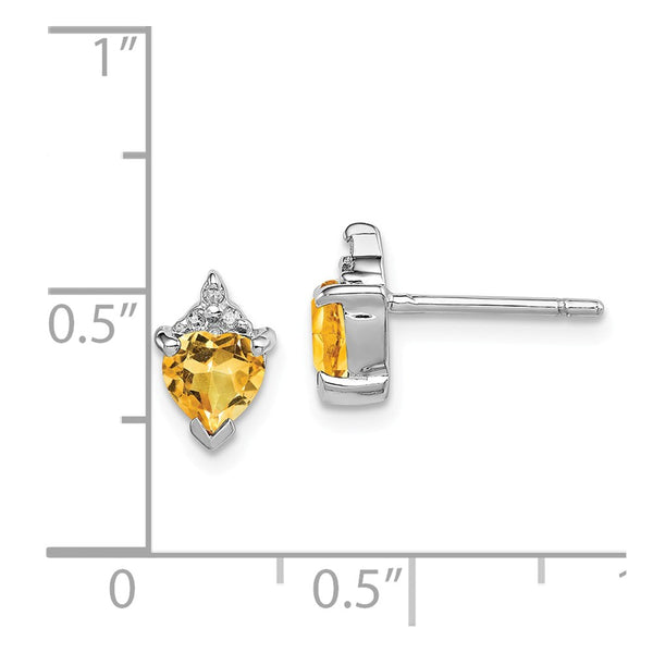 Sterling Silver Rhodium Heart Citrine & Diamond Post Earrings