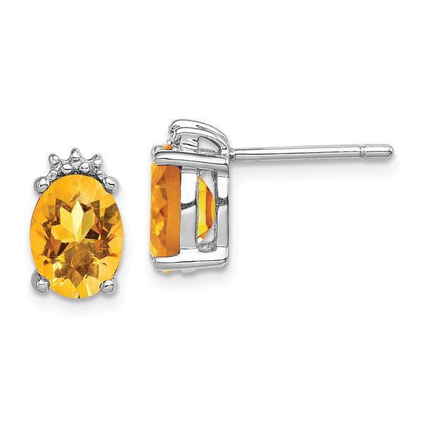 Sterling Silver Rhodium Oval Citrine & Diamond Post Earrings