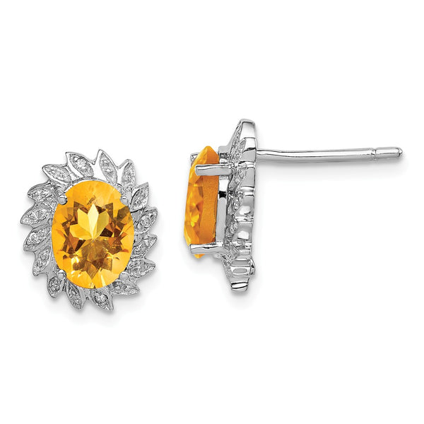 Sterling Silver Rhodium Citrine Diamond Earrings