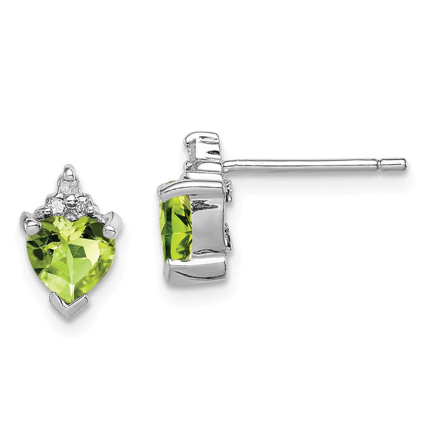 Sterling Silver Rhodium Heart Peridot & Diamond Post Earrings