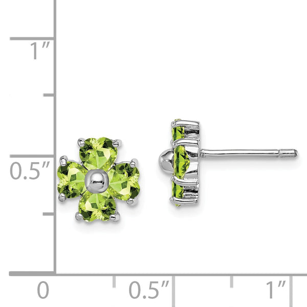 Sterling Silver Rhodium Peridot Flower Post Earrings