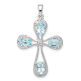 Sterling Silver Rhodium Aqua & Diamond Cross Pendant