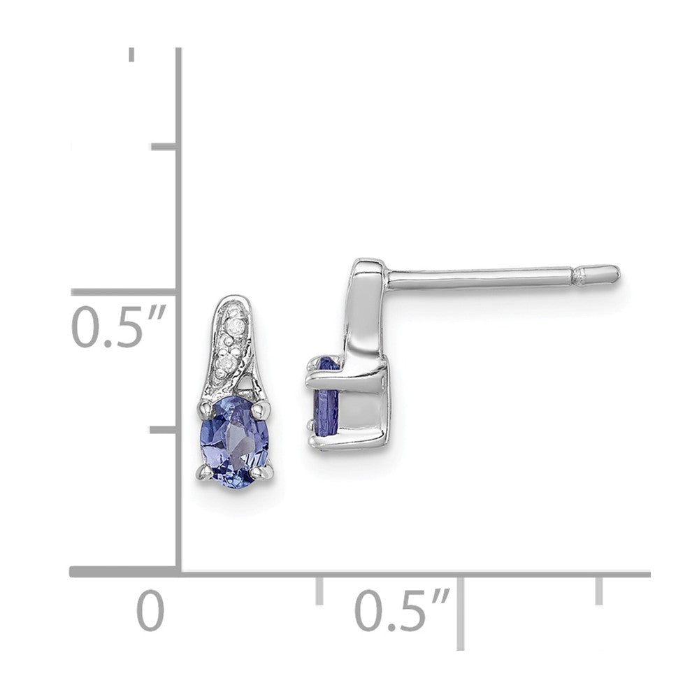 Sterling Silver Rhodium-plated Tanzanite & Diamond Earrings