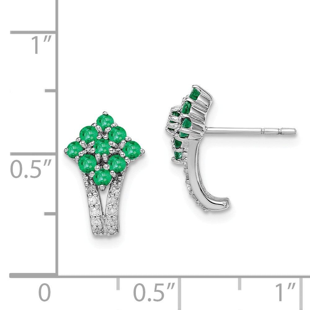 Sterling Silver Rhodium-plated Diamond & Emerald Square Post Earrings