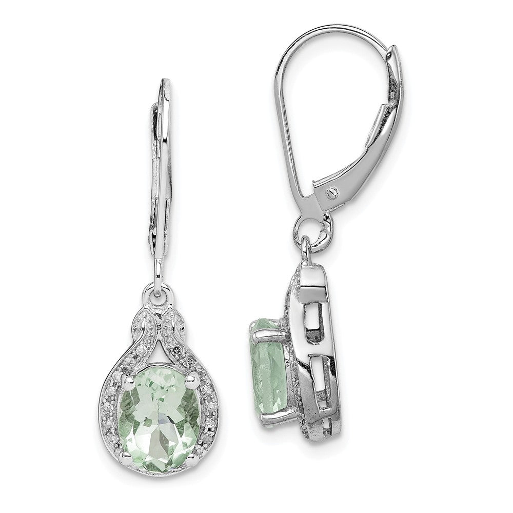 Sterling Silver Rhodium-plated Diamond Green Quartz Earrings