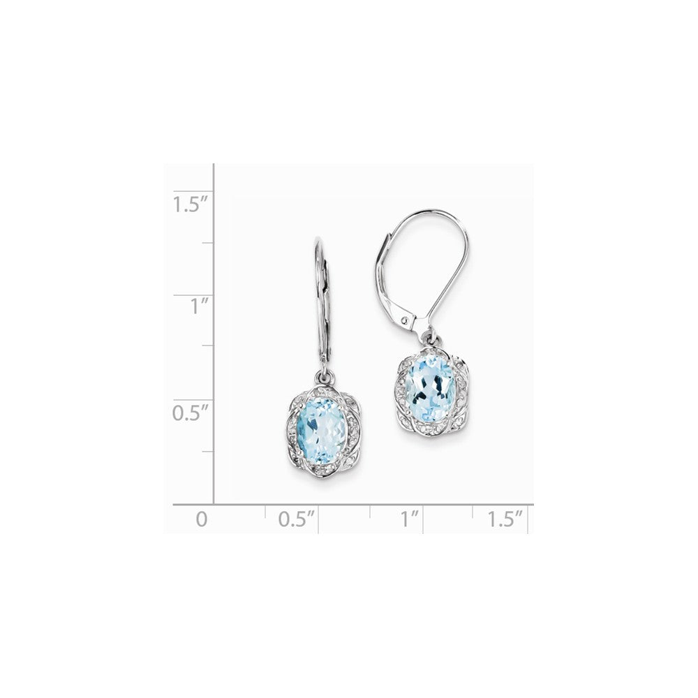 Sterling Silver Rhodium-plated Diamond Blue Topaz Earrings