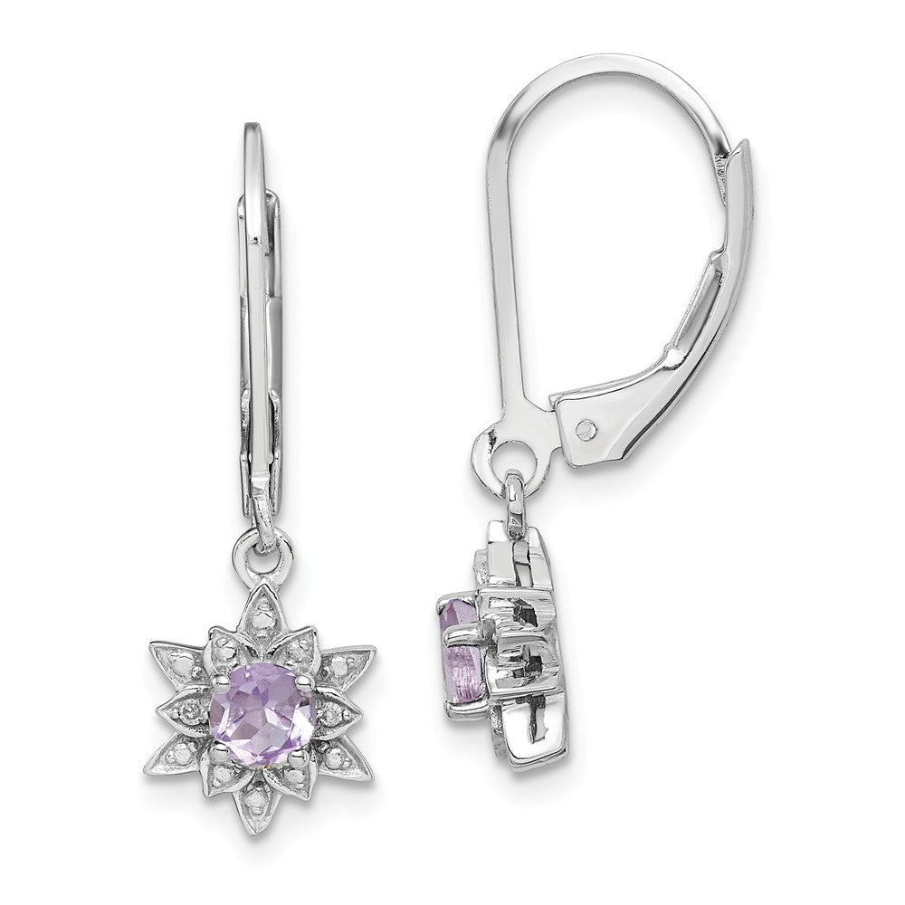 Sterling Silver Rhodium-plated Diamond & Pink Quartz Earrings