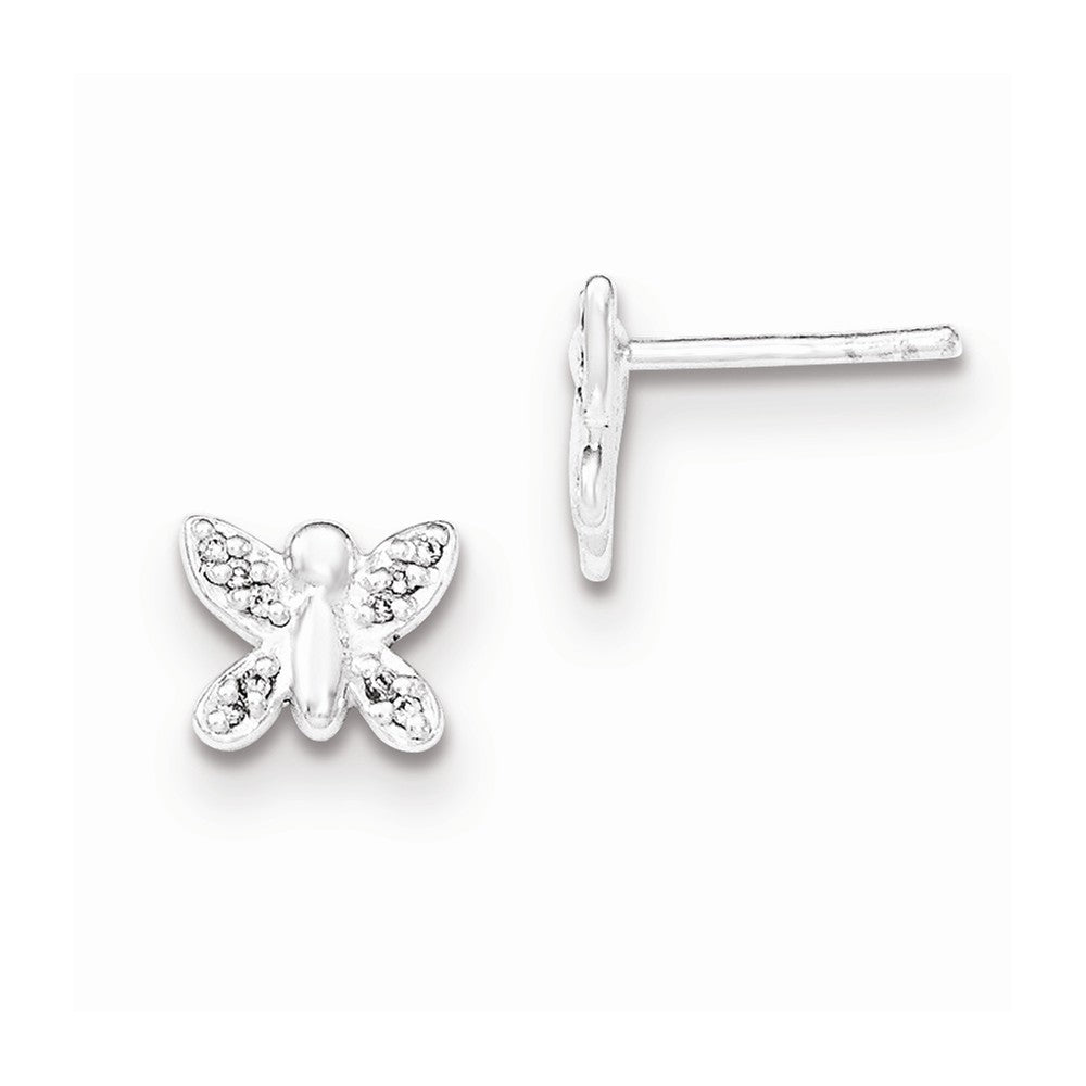 Sterling Silver Polished CZ Butterfly Post Earrings