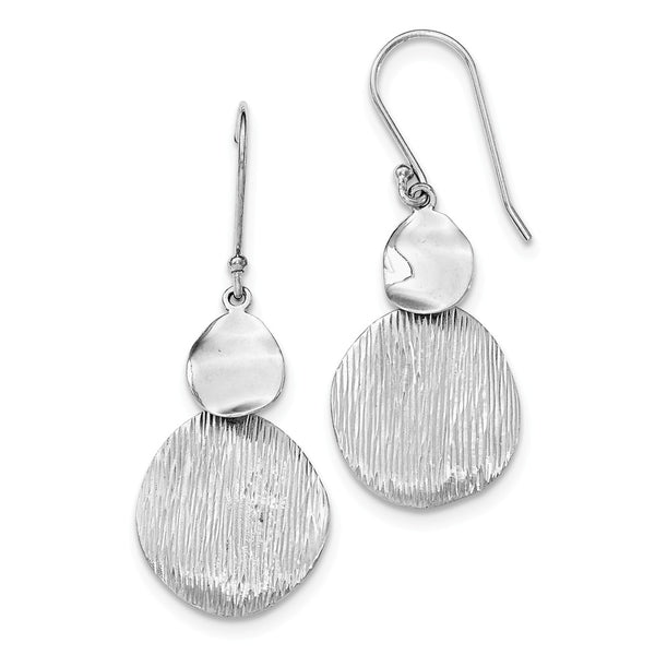 Sterling Silver Rhodium-plated Textured & Polished Round Earrings