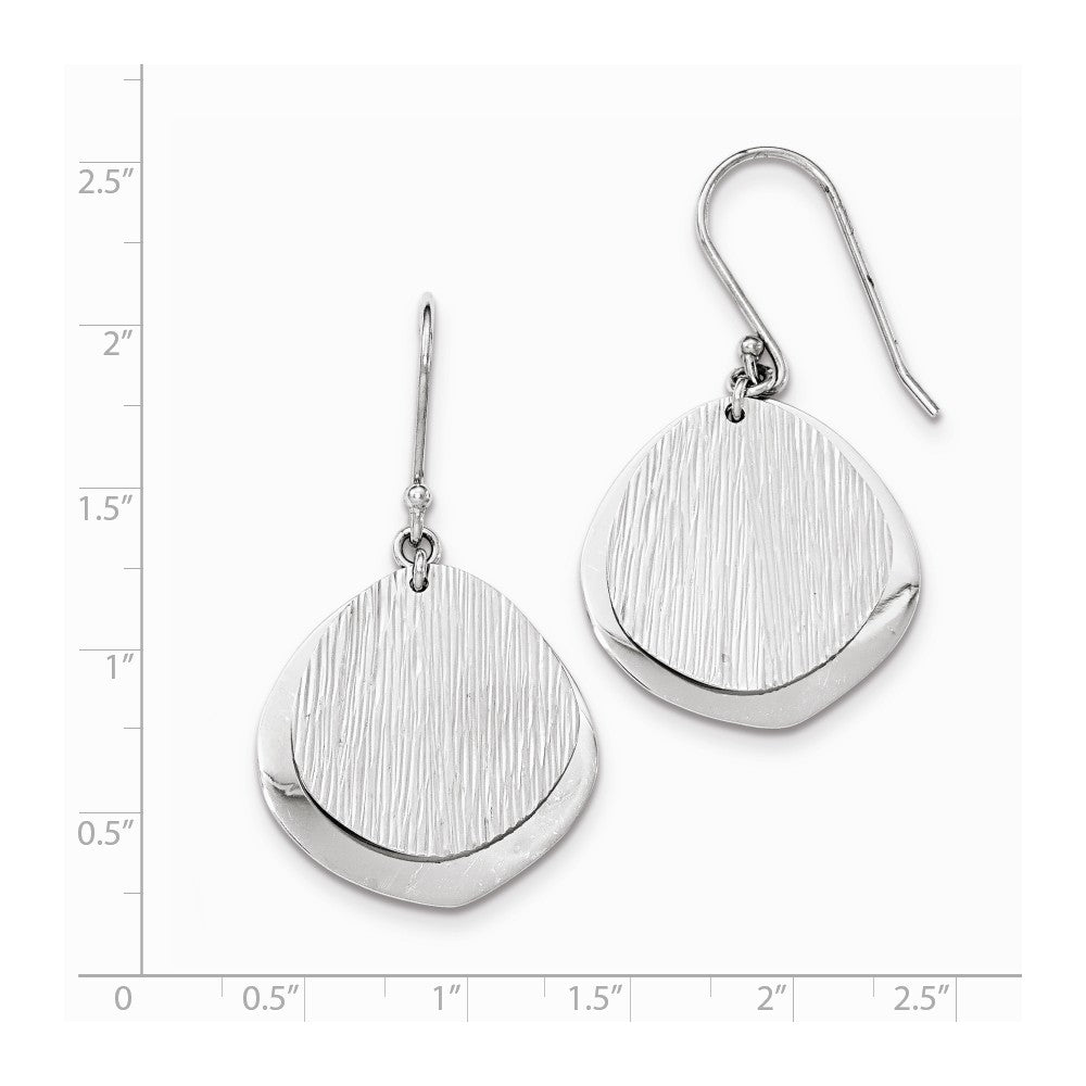 Sterling Silver Rhodium-plated Textured & Polished Dangle Earrings