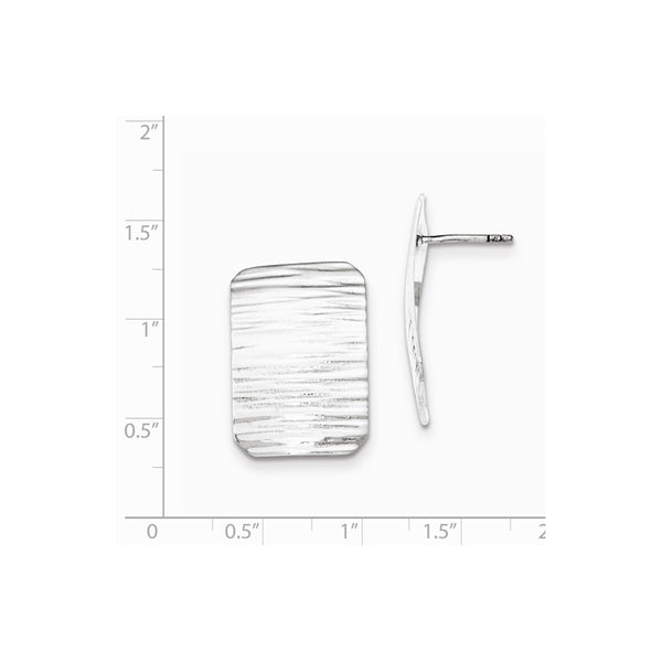 Sterling Silver Polished Line Pattern Rectangle Post Earrings