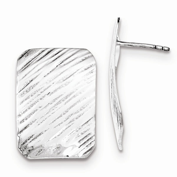 Sterling Silver Polished Diagonal Line Pattern Rectangle Post Earrings