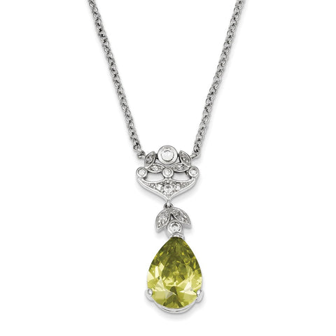 Sterling Silver Light Green CZ Necklace