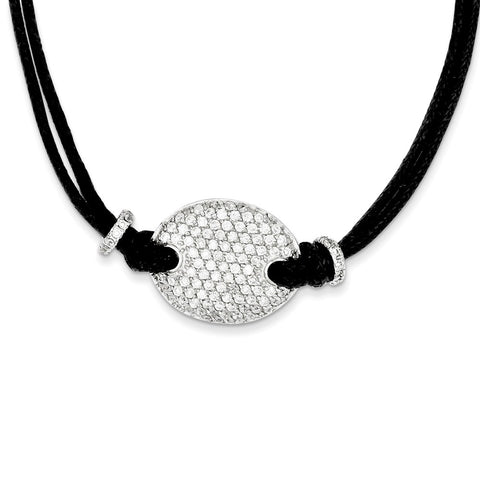 Sterling Silver CZ Black Fabric Cord Necklace