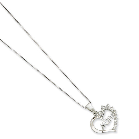 Sterling Silver Rhodium-plated Diam. Mom Necklace