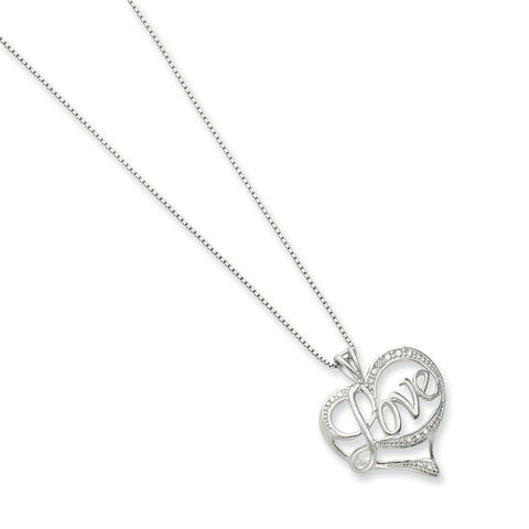 Sterling Silver Rhodium-plated Diam. Love Necklace