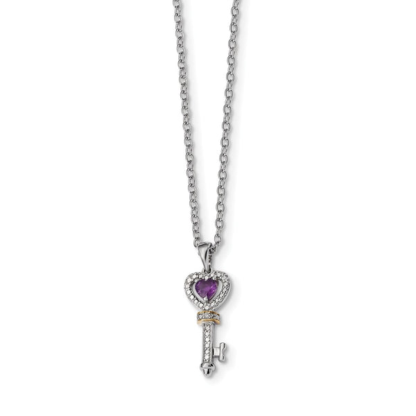 Sterling Silver & 14K Amethyst and Diamond Key Necklace
