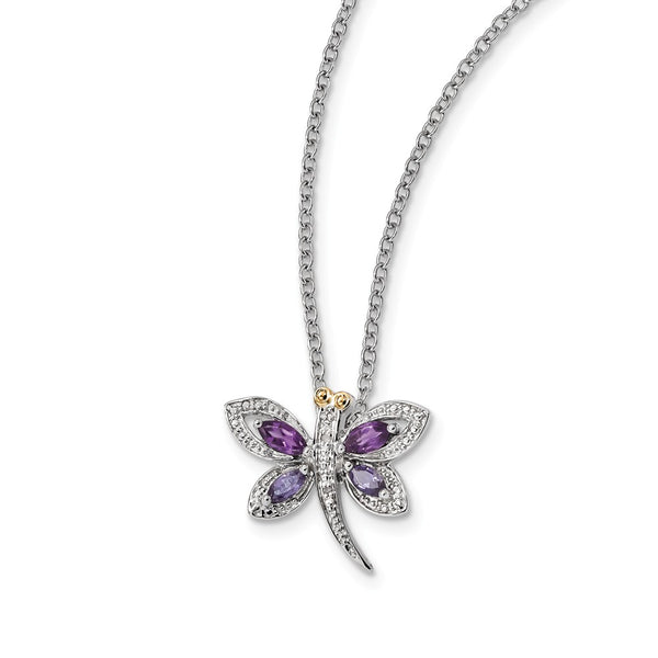 Sterling Silver & 14K Amethyst and Iolite and Diamond Dragonfly Necklace