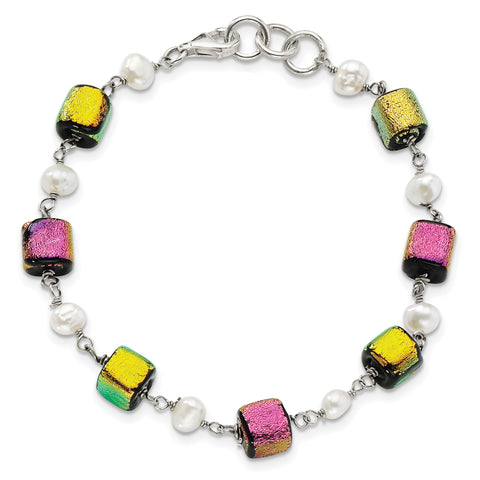 Sterling Silver Pink & Yellow Dichroic Glass FW Cultured Pearl Bracelet