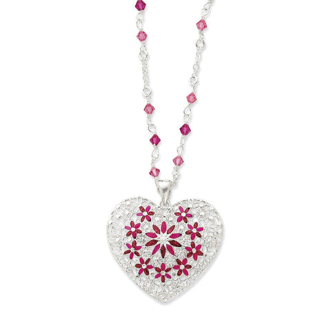Sterling Silver Pink Enameled & CZ Fancy Heart Necklace