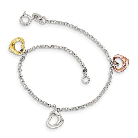 Sterling Silver Polished & Flash Gold-plated Heart Bracelet