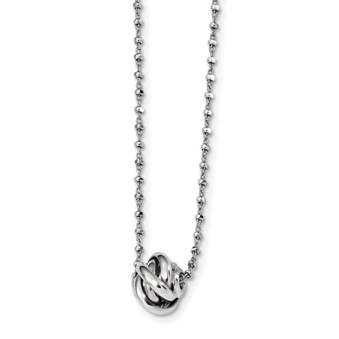 Sterling Silver Rhodium-plated Polished Love Knot D/C Chain Necklace